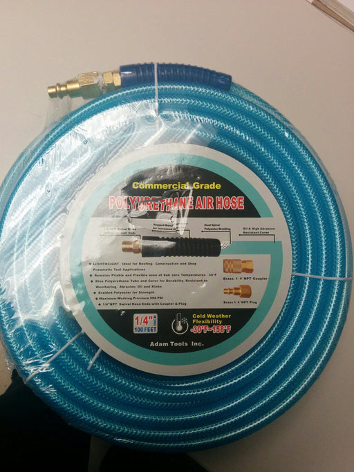 "COMMERCIAL GRADE POLYURETHANE AIR HOSE- 100'*1/4""-BLUE"