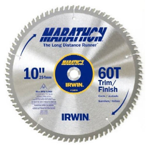 IRWIN Tools MARATHON Carbide Table / Miter Circular Blade, 10-Inch, 60T- 14074