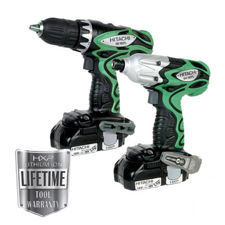 Hitachi - KC18DFL-PR 18V Compact HXP Li-ion 2-Piece Combo Kit