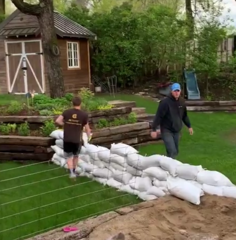 Sandbagging to prevent flooding