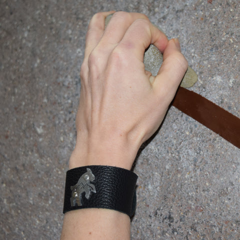 Hammered GOAT on Leather Cuff