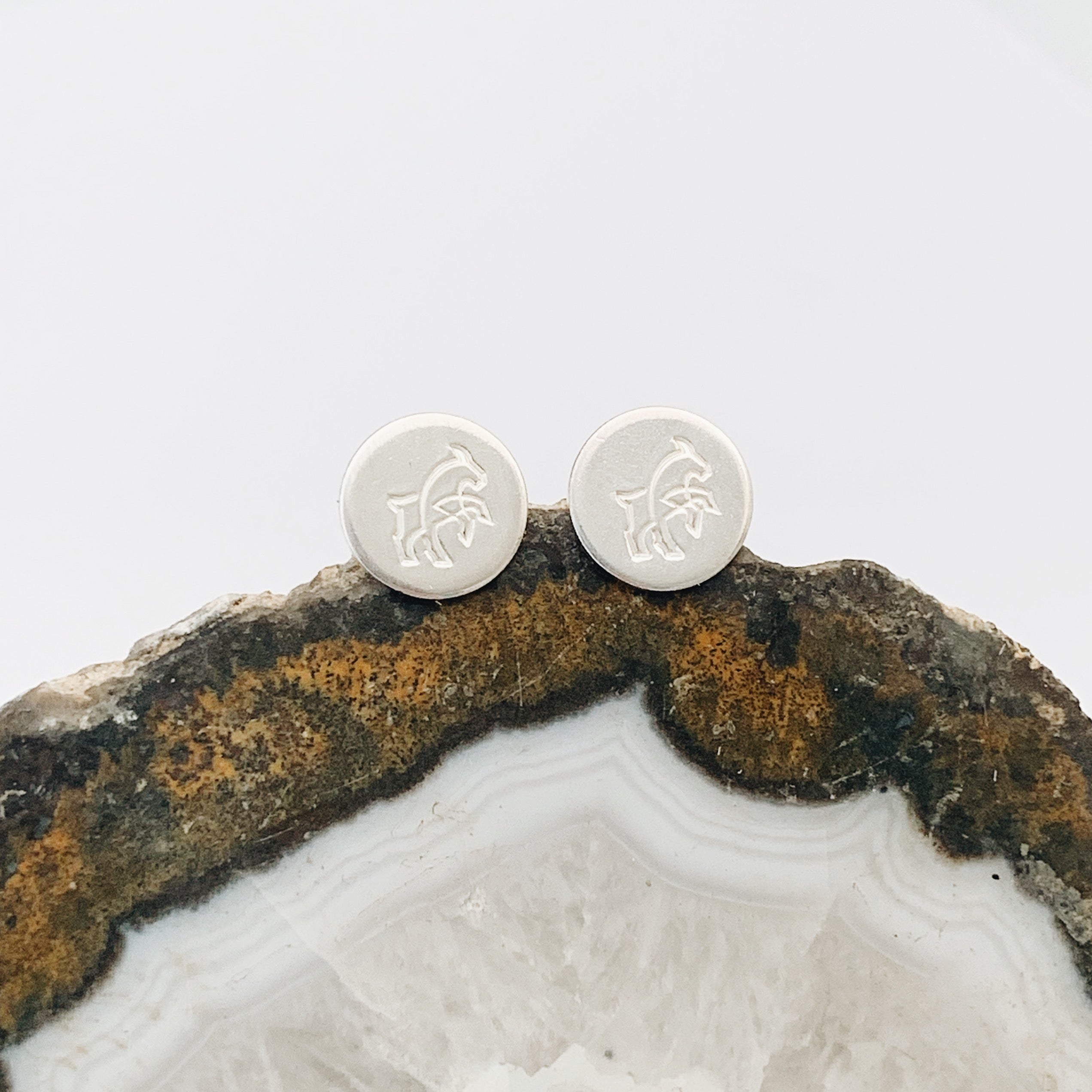 GOAT on Sterling Silver Round Studs