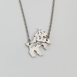 Your GOAT with Mountains & Sky Necklace -- Sterling Silver