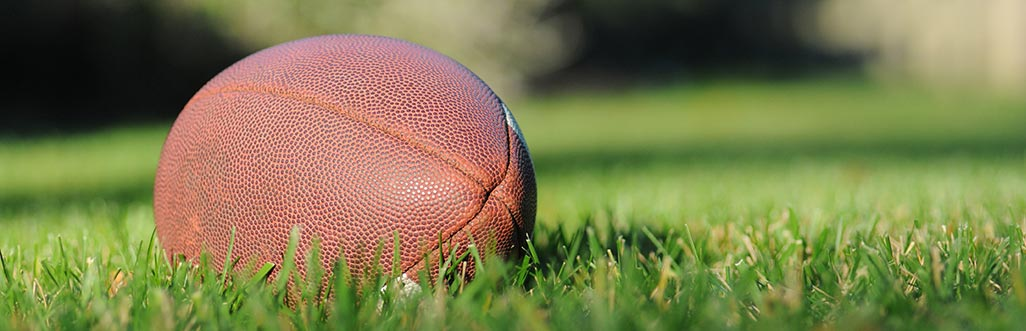 A picture of a football in grass. Photo by Ben Hershey.