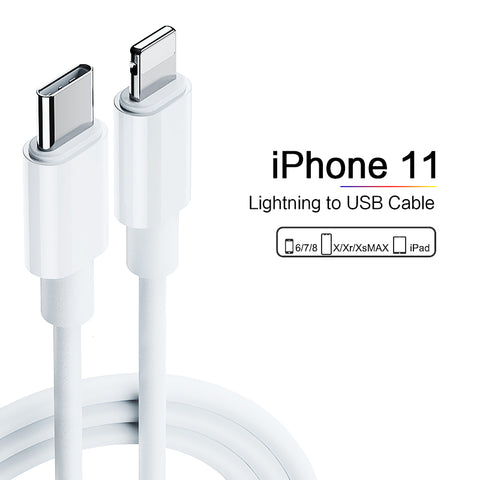 Image of Apple Compatible For iPhone 11 Pro USB-C to Lightning Thunderbolt 3 Charge and Data Sync Cable 1M White