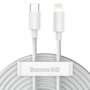 Baseus Simple Wisdom (Pack of 2) For iPhone 12 Pro Max USB-C to Lightning Support 20W PD Charge and Data Cable