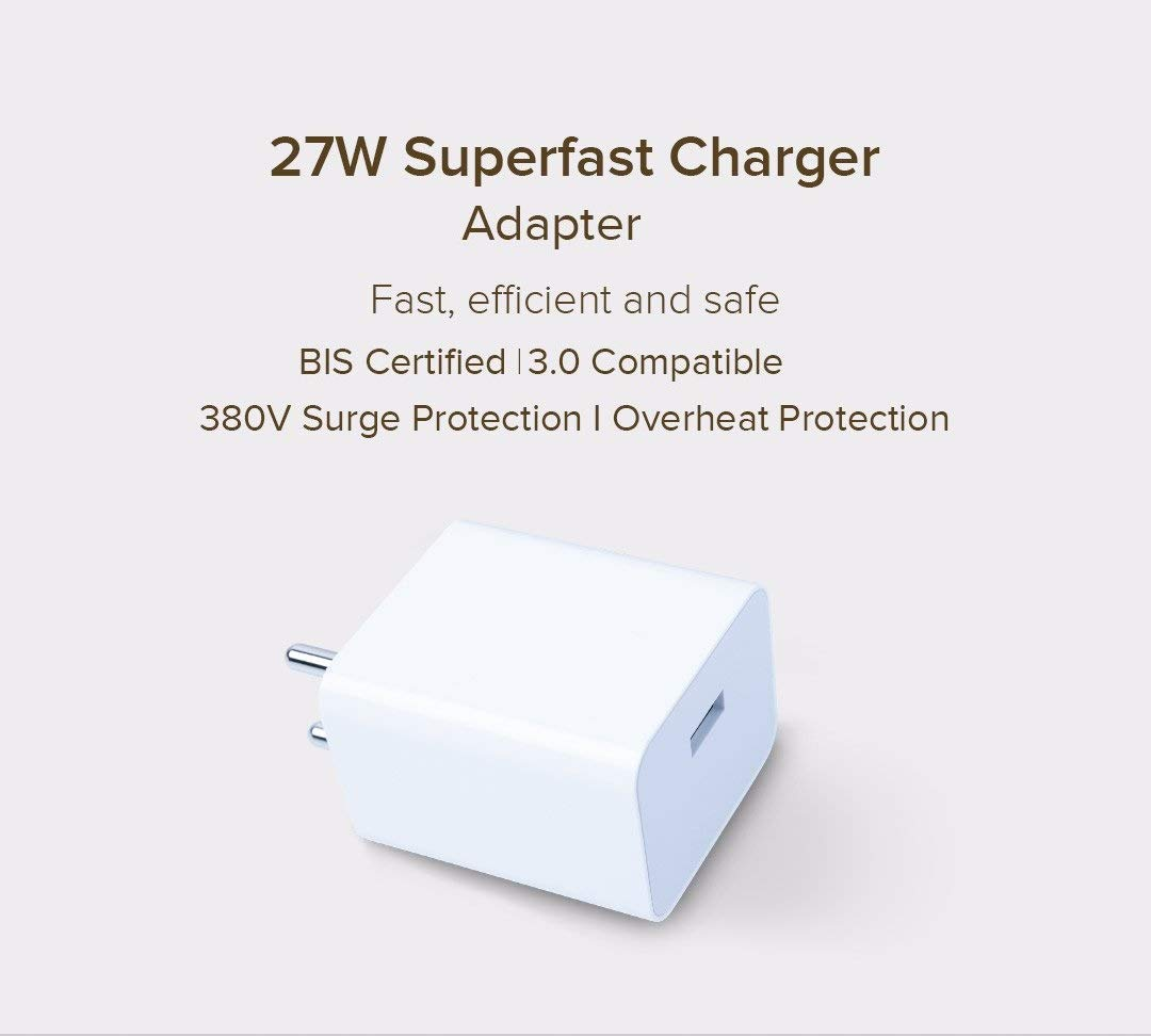 Poco X2 Superfast 27W Support SonicCharge 3 Amp Mobile Charger With Type-C Cable