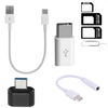 5 in 1 Combo-Type C Power Bank Cable , OTG ,SIM Adapter , Type-C Connector , Earphone Connector All Mobile Accessories Combo Kits