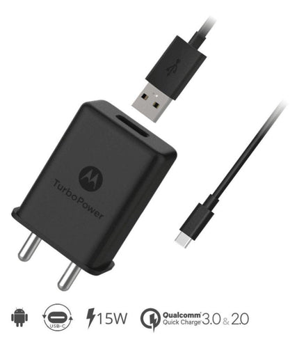 Motorola M 2.1 Amp Type C Turbo charger with 1.2 Mt Data & Sync Cable (Black)-chargingcable.in