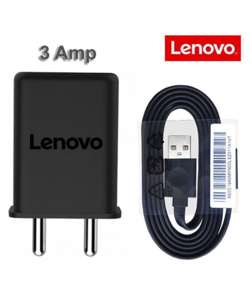 Lenovo Vibe K5 Plus 3 Amp Mobile Charger with 1.2 Mt Fast Charging Cable Black-chargingcable.in