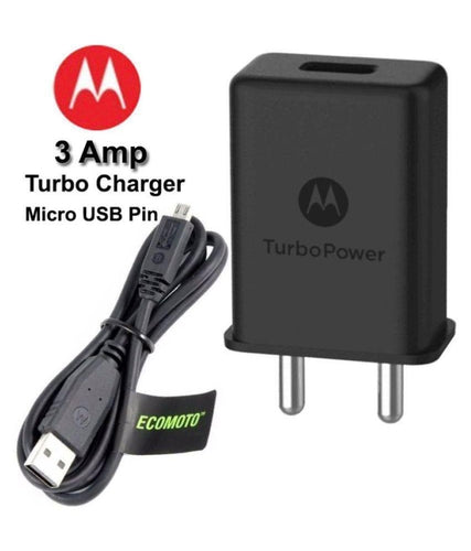 Moto G5 Plus 3 Amp Turbo charger With 1.2 Mt Data & Sync Cable (Black)