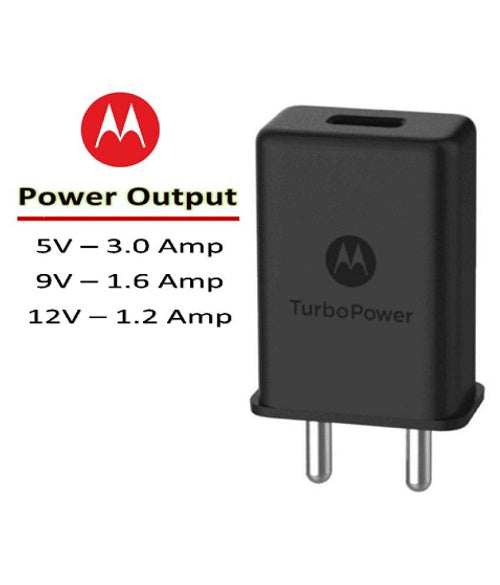 Moto G5 Plus 3 Amp Turbo charger With 1.2 Mt Data & Sync Cable (Black)-chargingcable.in
