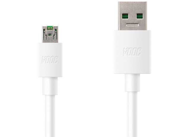 Oppo A71 VOOC Charge And Data Sync Cable White-chargingcable.in