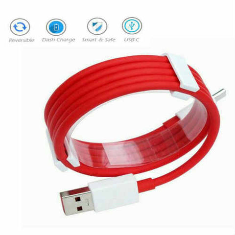 Image of Type C Data Cable Charge & Sync Cable for One Plus Devices- 1M-Red & White-chargingcable.in