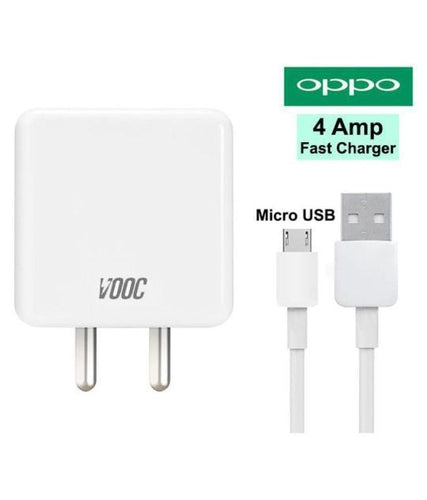 OPPO F5 Youth 4 Amp Fast Charger With 1.2 Mt Charge & Data Sync Cable (White)