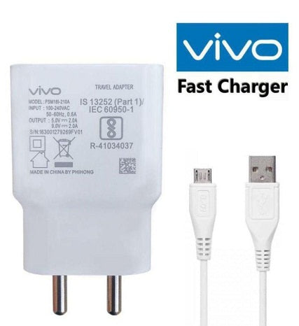 VIVO Y93 2Amp,9V Support Fast Charge Mobile Charger with Fast Charge Data ans Sync 1mt Cable (White)