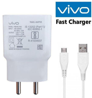 Vivo Y11 2019 2 Amp Dual Engine Fast Mobile Charger with Data Cable 1M Cord-White-chargingcable.in