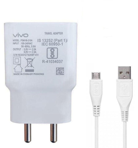 Vivo V15 Pro 2 Amp Dual Engine Dual Engine Mobile Charger with Data Cable-chargingcable.in