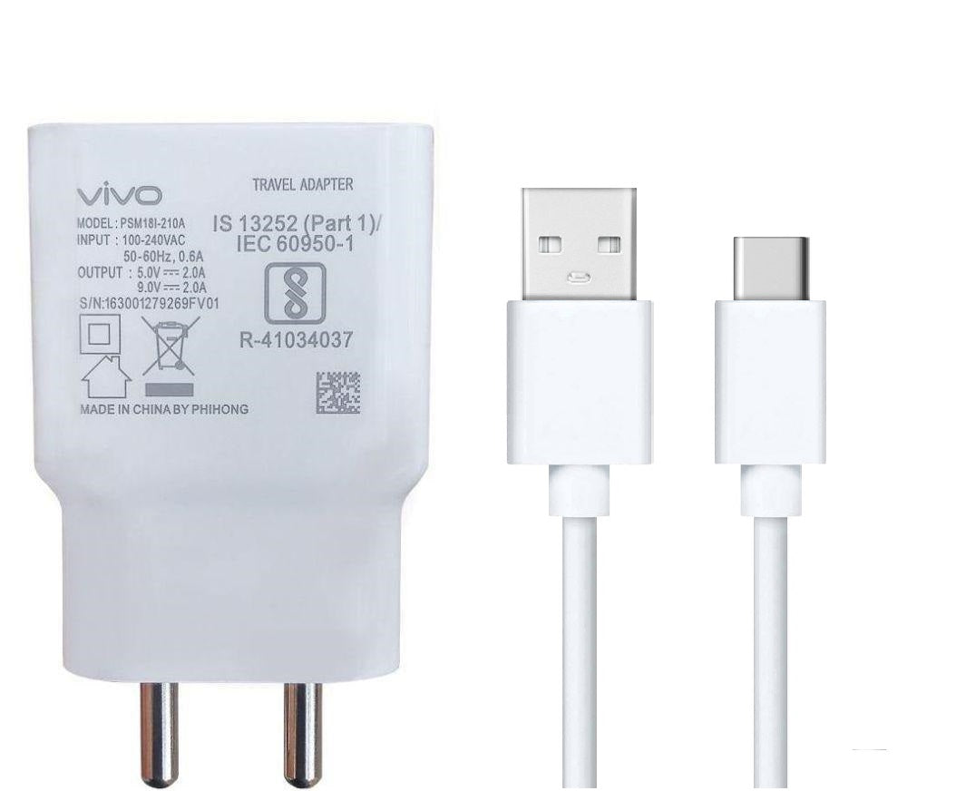 VIVO Y98 2Amp 9V Support Fast Charge Type C Mobile Charger With Cable (White)-chargingcable.in
