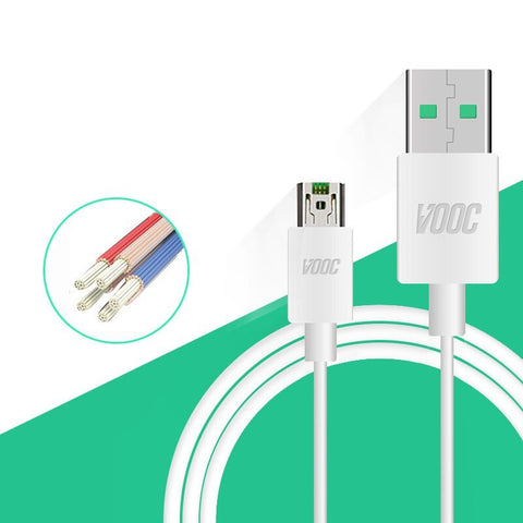 Image of Oppo A3S VOOC Charge And Data Sync Cable White-chargingcable.in