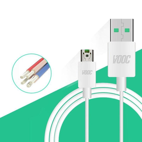 Oppo VOCC Oppo F9 Pro Charge And Data Sync Cable White-chargingcable.in