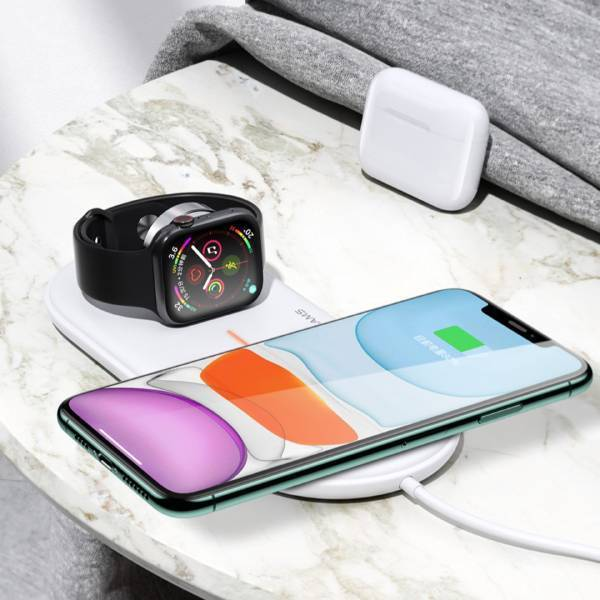 USAMS 2 in 1 Wireless Fast Charging Pad For Apple Watch iPhone and Earbuds
