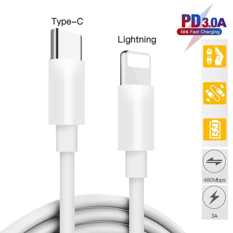 Apple Compatible For iPhone 11 Pro Max USB-C to Lightning Thunderbolt 3 Charge and Data Sync Cable 1M White