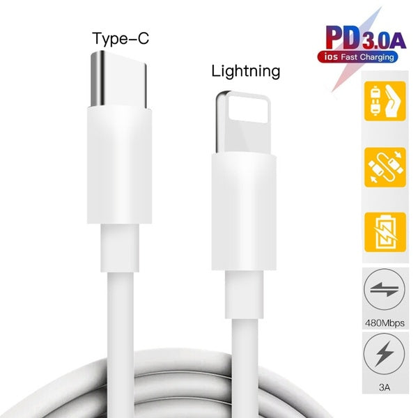 Apple iPhone 11 Pro Max USB-C to Lightning Thunderbolt 3 Charge and Data Sync Cable 1M White