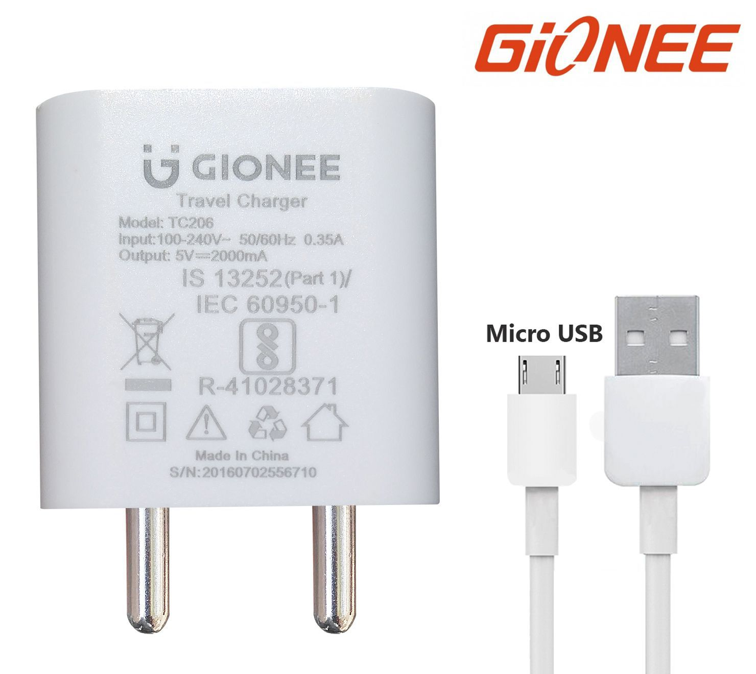 Gionee Mobile Charger 2 Amp With Fast Charging Micro Data Cable White