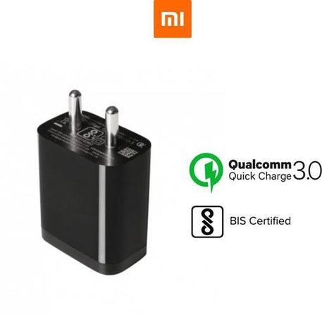 XIAOMI Redmi Note 5 Pro Mobile Fast Charger 3 Amp With 1 Mt Data & Sync Cable (Black)-chargingcable.in