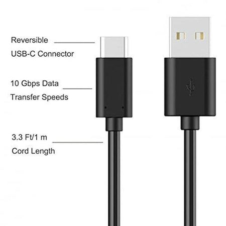 Xiaomi Redmi Mi Note 7 Pro Type C Charge And Sync Cable-1.2 M-Black-chargingcable.in