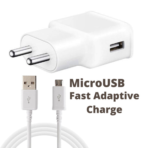 Image of Samsung Galaxy On6 Adaptive Fast Mobile Charger 2 Amp With 1mt Data and Sync Cable White