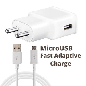 Samsung J2 2018 Adaptive Mobile Charger 2 Amp With Adaptive Fast Cable White
