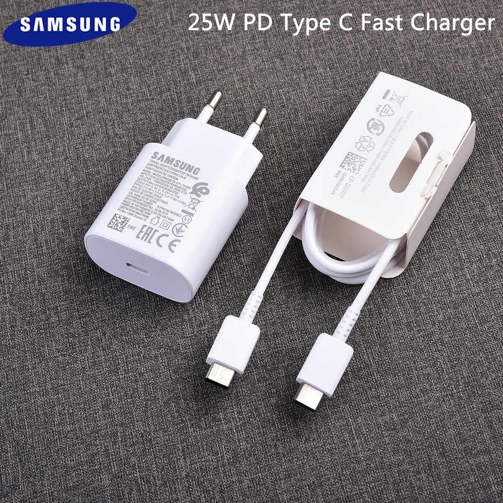 Samsung Galaxy S20 Plus 25W Type-C To Type-C Adaptive Fast Mobile Charger With Cable White