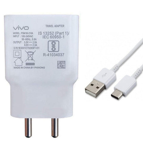 Vivo V17 2 Amp 9V Dual Engine Fast Charge Mobile Charger with Type C Cable-chargingcable.in