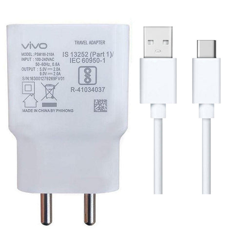 Vivo V17 Pro 2 Amp 9V Dual Engine Fast Mobile Charger with Type C Cable-chargingcable.in