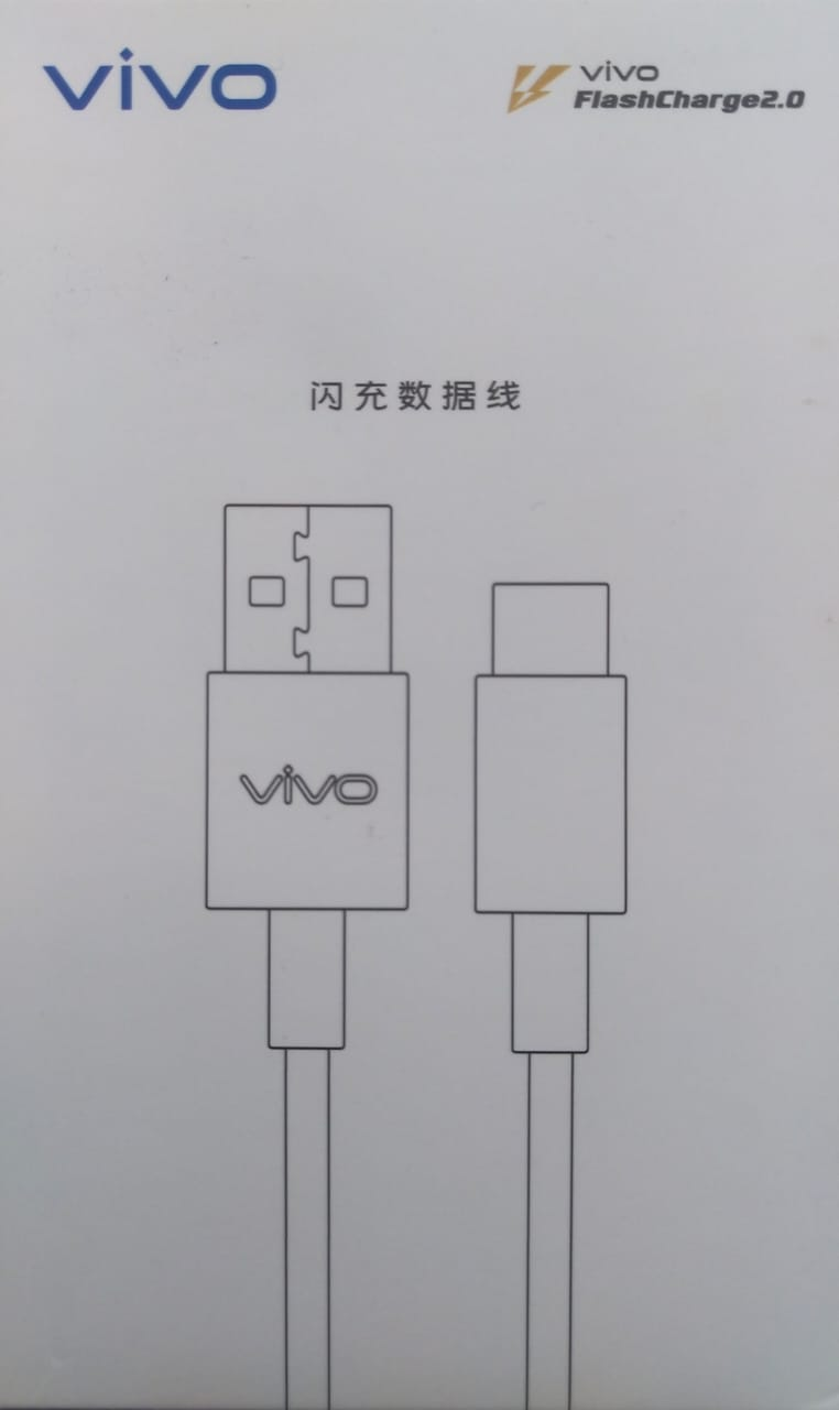 Vivo V20 Original Flashcharge 2.0 Type C Cable And Data Sync Cord-White