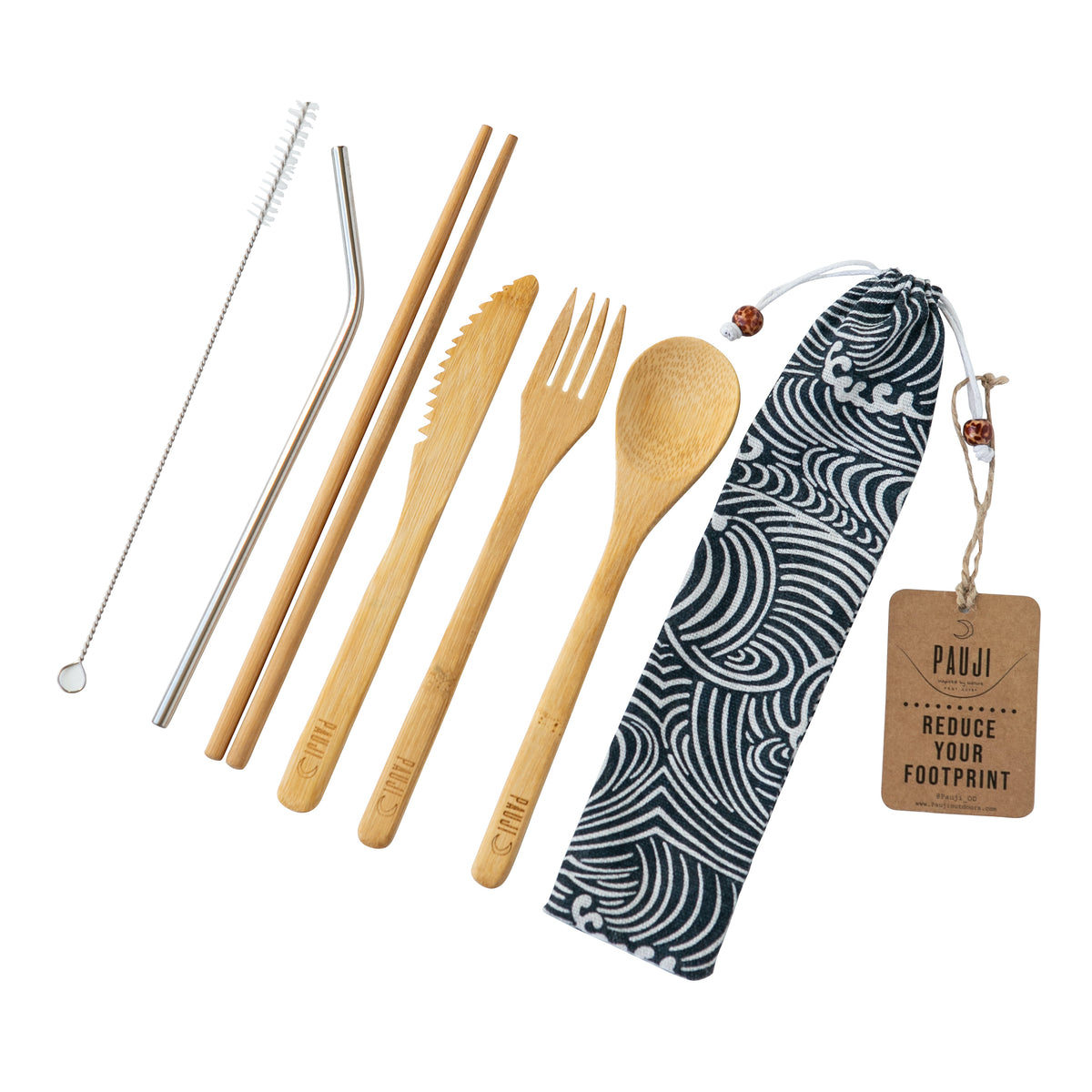 Large Bamboo Cutlery Set