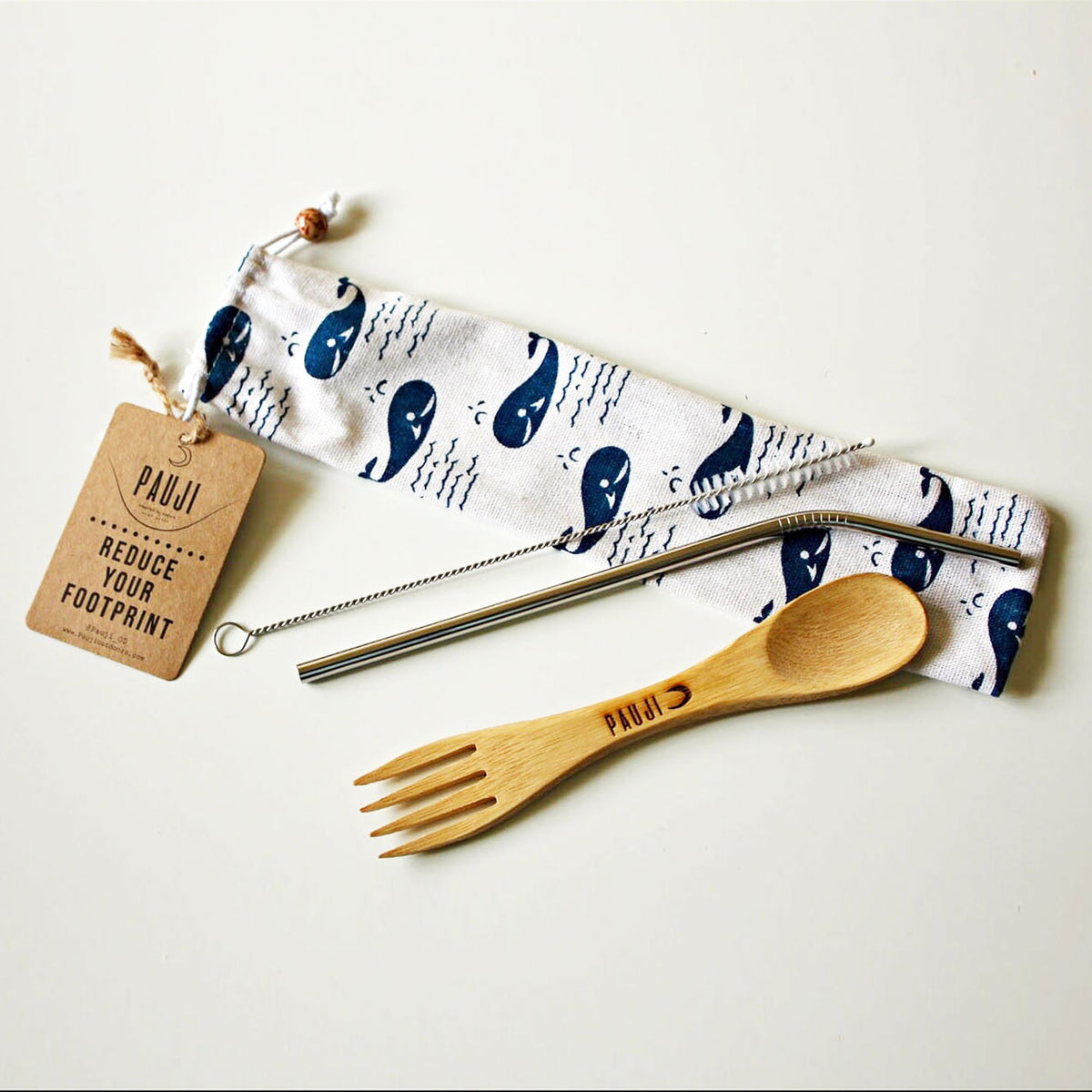 Bamboo Spork & Stainless Steel Straw Set