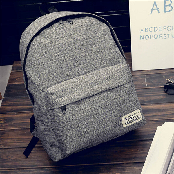 Men Women Shoulder Canvas Backpack Rucksack School Travel College Bag Solid