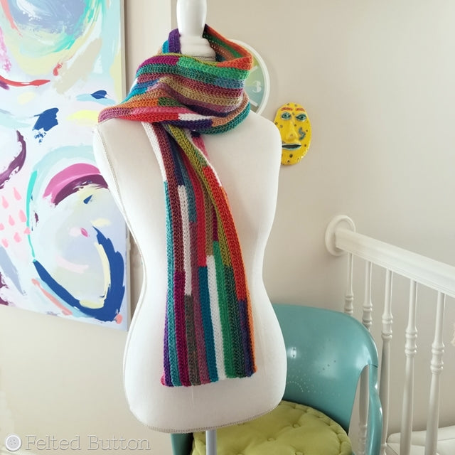 Striped multicolored scarf, 5th Dimension Scarf, free crochet pattern by Susan Carlson of Felted Button colorful crochet patterns