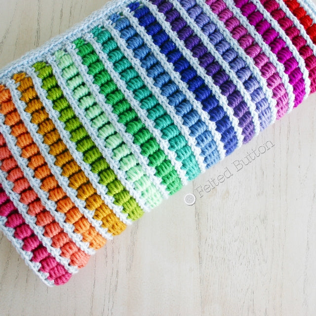 Abacus Blanket crochet afghan rainbow baby blanket pattern by Susan Carlson of Felted Button | Colorful Crochet Patterns, mock bullions