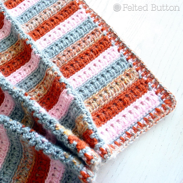 Rust, pink and neutrals striped and paneled blanket, Arlington Blanket crochet afghan pattern by Susan Carlson of Felted Button | Colorful Crochet Patterns