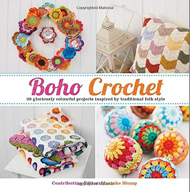 Front cover of Boho Crochet book, folk style crochet in colorful patterns, Susan Carlson of Felted Button | Colorful Crochet Patterns