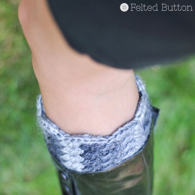 Grey boot cuff or topper, crochet pattern What the Cuff? by Susan Carlson of Felted Button | Colorful Crochet Patterns