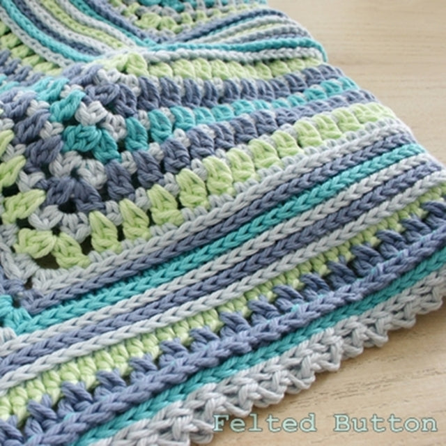Breath of Heaven Blanket baby crochet pattern in blues and greens by Susan Carlson of Felted Button | Colorful Crochet Patterns