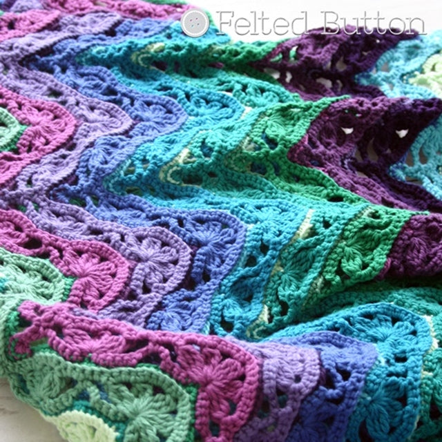 Lacey ripple crochet blanket in purples and greens, Brighton Blanket free crochet afghan or throw pattern by Susan Carlson of Felted Button | Colorful Crochet Patterns, Hobby Lobby I Love This Cotton yarn