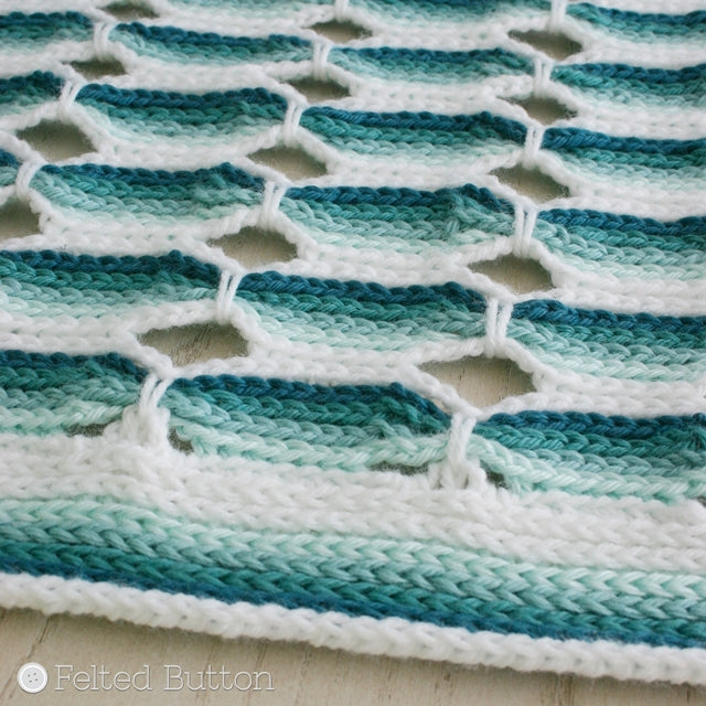 Ombre teal striped crochet blanket, Candy Stick Blanket crochet pattern, by Susan Carlson of Felted Button | Colorful Crochet Patterns