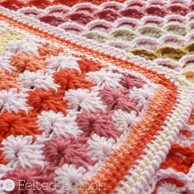 Pink, orange and yellow crochet blanket, Confections Blanket crochet afghan pattern by Susan Carlson of Felted Button | Colorful Crochet Patterns
