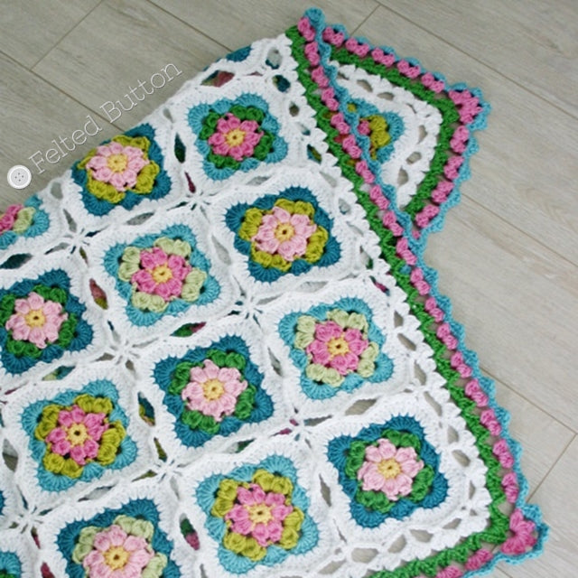 Cottage Garden Blanket, crochet throw or afghan pattern in pinks and greens with granny squares, crochet pattern by Susan Carlson of Felted Button | Colorful Crochet Patterns